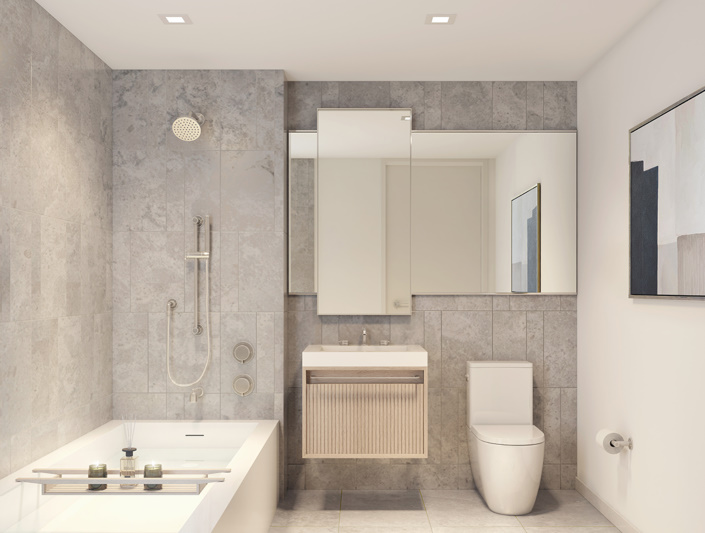 bathroom bathtub toilet sink lower east side condo