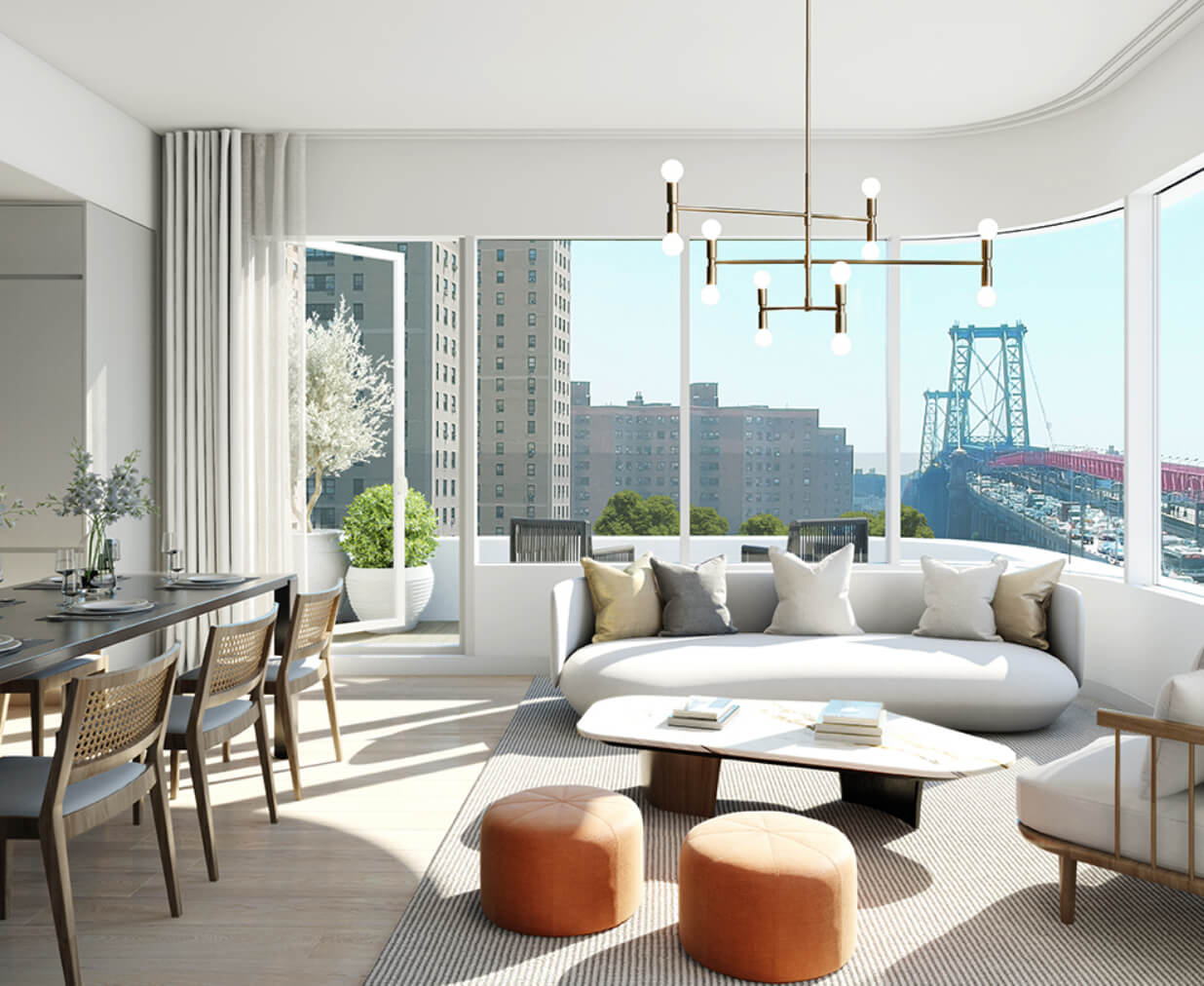 living room with couch and coffee table lower east side condo