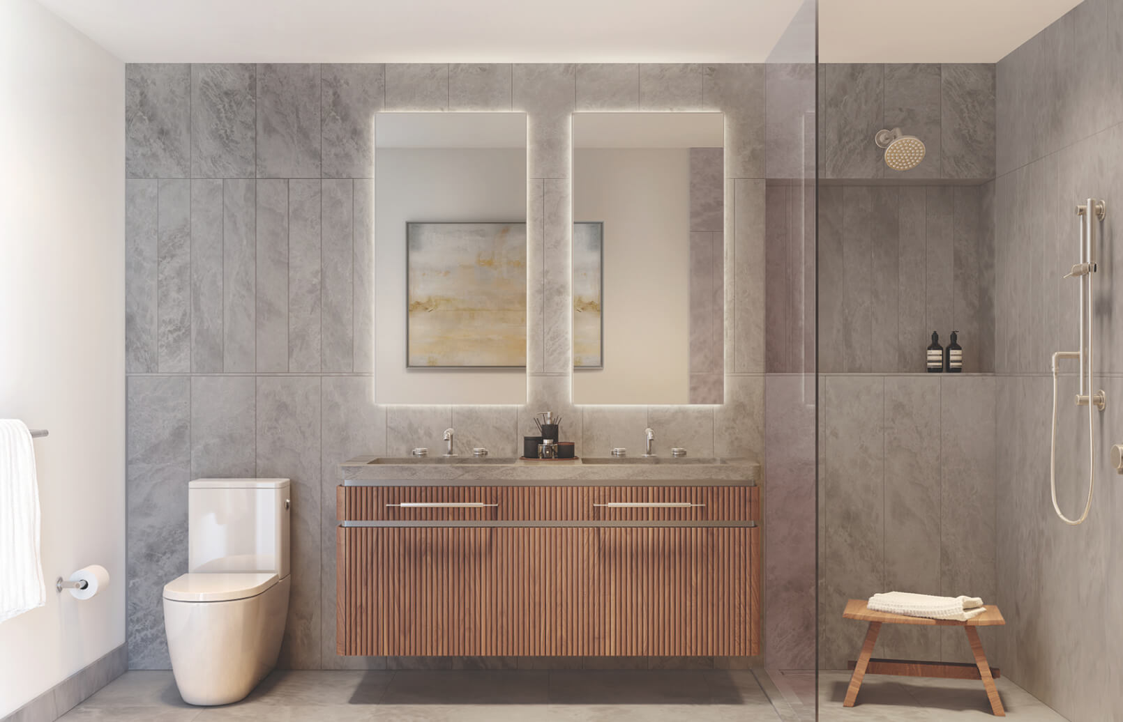 bathroom shower toilet sink lower east side condo